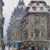 Fritz Beckert, Dresden - Rampische Straße mit Blick auf die Frauenkirche. 1917. Schätzpreis:9.000 - 12.000 EUR