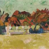 Cuno Amiet 1868–1961 Landschaft auf der Oschwand 1918 Öl auf Leinwand 55 x 60,5 cm  Oscar Miller-Sieber, Biberist Auktion Galerie Kornfeld, Bern, 19.6.1998, Los 1 Privatbesitz, Schweiz Schätzpreis:80.000 - 100.000 CHF