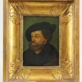 Aldegrever, Heinrich (Paderborn 1502 - 1555/1561 Soest) attr.  Gemälde, Öl auf Holz, Portrait eines Mannes mit Barett Mindestpreis:1.200 EUR