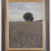 Ende, Hans am (Trier 1864 - 1918 Stettin)  Gemälde, Öl auf Leinwand auf Platte, großer Baum in den Feldern bei Worpswede, Mindestpreis:2.000 EUR