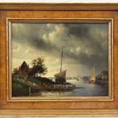 Leickert, Charles Henry Joseph (Brüssel 1816 - 1907 Mainz) Gemälde, Öl auf Platte, Fährboot an einem Flusslauf, unten rechts signiert Mindestpreis:3.000 EUR