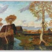 "Modersohn, Otto (Soest 1865 - 1943 Worpswede)  Gemälde ""Sturm im Teufelsmoor"", Öl auf Leinwand, unten rechts signiert ""O.Modersohn"" Mindestpreis:"