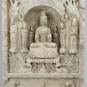 Große Votiv - Stele  Weißer, teils kristalliner Kalkstein gehauen, quaderförmige Stele, Mindestpreis:3.000 EUR
