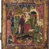 Außergewöhnliche Ikone mit der Darbringung Christi im Tempel Russland, Stroganow, um 1600 Laubholztafel mit zwei Rückseiten-Sponki (einer verloren).  Schätzpreis:2.500 - 2.700 EUR