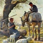 """JUNGHANNS Julius Paul (1876-1958/Wien-Düsseldorf) """"Ziegenhirtin und junger Bauer auf Pferd"""", Mindestpreis:950 EUR"""