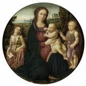 """Jacopo del Sellaio, auch genannt """"Jacopo di Arcangelo"""", 1441/42 Florenz """""""" 1493 ebenda MARIA MIT DEM KIND, DEM ERZENGEL GABRIEL UND DEM TÄUFERKNABEN Tempera auf Holz. Parkettiert. Durchmesser: 86 cm. Schätzpreis:180.000 - 250.000 EUR"""