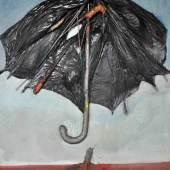 """KANTOR Tadeusz (1915 Wielopole Skrzynskie - 1990 Krakau) """"Regenschirmcollage"""", aufgespannter Regenschirm auf Leinwand befestigt...  Mindestpreis:8.000 EUR"""