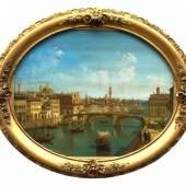 """Canella, Giuseppe (attr., 1788 Verona - 1847 Florenz) """"Florenz""""; Blick auf den Arno; im Vordergrund die Ponte Santa Trinita, Mindestpreis:4.600 EUR"""