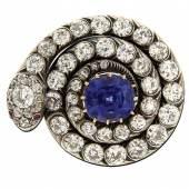 Schlangenbrosche-Collier mit Diamanten und Saphir Zweite Hälfte 19. Jh. Silber über Gelbgold. Schätzpreis:5.000 - 7.000 EUR