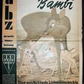 """abz - Aktuelle Bilder Zeitung, sehr seltener Sonderdruck zu Walt Disney's großem Farbfilm """"Bambi"""", 1951, gerahmt Schätzpreis:3.000 - 4.000 EUR"""