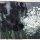 "FUßMANN Klaus (1938 Velbert) ""Iris und Hornkraut"", Mischtechnik (Öl, Acryl u. Aquarell) auf Bütten, rechts unten signiert u. 1999 datiert, 44x58cm Mindestpreis:2.500 EUR"