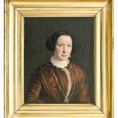 Exner, Johan Julius (Kopenhagen 1825 - 1910). Damenporträt. Öl auf Leinwand. Um 1850. Unten rechts signiert 'Exner.'. 24 x 19,5 cm. Im vergoldeten Rahmen. Schätzpreis:800 EUR