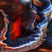 """Großes Glasbild Ohne Titel. 1957. Aufwändige Technik aus verschiedenfarbigen Glasverschmelzungen. Italien, Venedig, Murano. Auf der Rückseite sign.: """"venini italia Carlo Scarpa 57"""". 65,5 x 107 cm. R.. € 1800"""