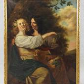 Baen, Jan de (Haarlem 1633 - 1702 Den Haag) oder Umkreis bzw. Nachfolger  Gemälde, Öl auf Leinwand, galantes Paar in Landschaft, die Frau trägt einen Korb mit Früchten Mindestpreis:1.000 EUR
