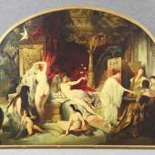 "Makart, Hans (Salzburg 1840 - 1884 Wien) nach  Gemälde ""Das Römische Bad"", Öl auf Leinwand, rückseitig signiert ""A, Pöhlandt, Leipzig Schleußig Seumestr. 5."", 160 x 202 cm Mindestpreis:5.000 EUR"