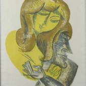 """Felixmüller, Conrad (Dresden 1897 - 1977 Berlin - Zehlendorf)  Farblithographie """"Liebende Frau"""" auf Bütten, im Stein monogrammiert """"FM."""" Mindestpreis:4.500 EUR"""