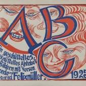 """Felixmüller, Conrad (Dresden 1897 - 1977 Berlin - Zehlendorf)  """"ABC"""". Ein geschütteltes, geknütteltes Alphabet in Bildern mit Versen"""", 15 Holzschnitte Mindestpreis:600 EUR"""