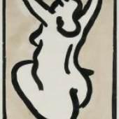 Raetz, Markus (Büren an der Aare 1941) Rückenakt. Tusche und Aquarell auf Papier.