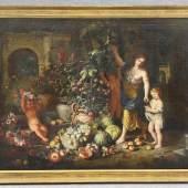 Cerquozzi, Michelangelo (Rom 1602 - 1660 Rom) attr. Gemälde, Öl auf Leinwand, römischer Patio mit großem Obstarrangement mit Kürbissen Mindestpreis:3.000 EUR