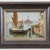Brandeis, Antonietta (Miskowitz / Böhmen 1848 - 1926 Florenz) attr. Gemälde, Öl auf Karton, Fischerboot in der Lagune von Venedig Mindestpreis:ohne Limit