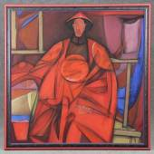 "Lu Zuogeng (*1963) Gemälde ""Noble of Qing Dynasty"", Öl auf Leinwand, unten links chinesisch signiert sowie datiert, nummeriert und signiert ""92.3 LU ZUOGENG"", 119 x 119 cm, 1992 Mindestpreis:6.000 EUR"