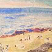 """HECKEL Erich (1888 Döbeln-1970 Radolfzell) """"Sylter Strand"""", gelassene und sommerliche Stimmung, typische Strandkörbe und Sandgraben  Mindestpreis:7.000 EUR"""
