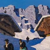 Alfons Walde*  Häuser im Gebirge, um 1930 Öl auf Karton, 42 x 67,5 cm Schätzpreis:150.000 - 300.000 EUR
