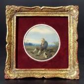 """Biedermeier-Miniatur """"Feierabend"""". Tondi mit Genreszene, alter weißhaariger Mann mit Hund beider Rast..., Mindestpreis:200 EUR"""