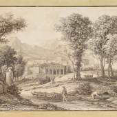 Reinhart, Johann Christian 1761 Hof - 1847 Rom Ideale Landschaft mit Leonidas-Denkmal.  Schätzpreis:10.000 - 15.000 EUR