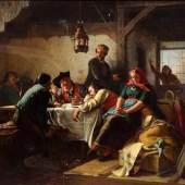 """Schoen, Friedrich Wilhelm (1810-1886) """"Die Auswanderer"""" 1859, Öl/Leinwand, u.m. sign., 88x118cm (m.R. 108x136cm), min. rest. Aufrufpreis:5.000 EUR"""