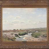 Dücker, Eugène Gustav, Am Watt. Re. u. sign. E. Dücker. Öl/Lwd., 75,5 x 100 cm. Stuckr. aus der Zeit. € 2200