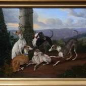 """Schneider, Friedrich (1799 Freiberg - 1855 Berthelsdorf) """"5 Windhunde""""; auf Terrasse mit Blumen... Mindestpreis:2.500 EUR"""