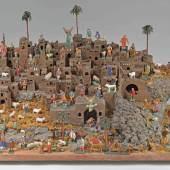Großer orientalischer Weihnachtsberg Holzplatte mit Landschaftsgestaltung und orientalischen Gebäuden, Aufrufpreis:2.600 EUR