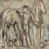 Sei Koyanagui 1896 Sapporo - 1948 - Mann mit Pferden, Aufrufpreis:1.800 EUR Schätzpreis:2.600 EUR Zuschlagspreis:5.500 EUR