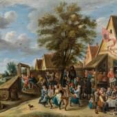 Abraham Teniers  Kirmesfest mit fröhlich tanzenden Dorfleuten, um 1646 Öl auf Kupfer, parkettiert, 70,9 x 87,4 cm Schätzpreis:50.000 - 100.000 EURO