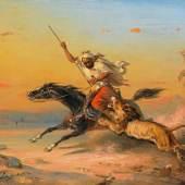 Saleh Ben Jaggia, Raden 1811 Samarang (Java) - 1880 Buitenzorg Araber zu Pferd von einem Löwen angegriffen.  Schätzpreis:30.000 - 50.000 EUR