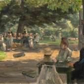 """Max Liebermann (1847 – Berlin – 1935) """"Studie zum ,Restaurationsgarten in Leiden'"""". 1900 Öl auf Leinwand. 50,5×75,5 cm ( 19 ⅞×29 ¾ in.).  Schätzpreis:500.000 - 700.000 EUR"""