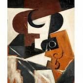 """Juan Gris, 1887 Madrid """""""" 1927 Boulogne-sur-Seine COMPOTIER ET VERRE, 1916 Öl auf Holz. Parkettiert. 61 x 38 cm.  Schätzpreis:2.300.000 - 3.500.000 EUR"""