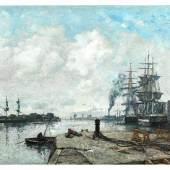 """Eugène Boudin, 1824 Honfleur """""""" 1898 Deauville BOULOGNE-SUR-MER, LE PORT, 1891 """""""" 93 Öl auf Leinwand. 45 x 65 cm.  Schätzpreis:150.000 - 230.000 EUR"""
