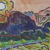 Karl Schmidt-Rottluff 1884 Rottluff - 1976 Berlin Nachmittagssonne im Taunus, 1959. Aquarell auf Papier. Signiert unten rechts. 50,1 x 70,3 cm  Schätzpreis:18.000 - 24.000 EUR