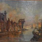 """URTNOWSKI Theodor (1881-1963 Gdansk/Danzig) """"Ansicht des Hafens von Danzig"""" Blick auf die Häuser mit Uferweg und Spaziergängern  Mindestpreis:400 EUR"""