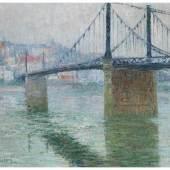 Loiseau, Gustave 1865 Paris - 1935 ebenda Loiseau. Le pont suspendu de Triel sur Seine Öl auf Leinwand. 60 x 81 cm. Schätzpreis:150.000 - 200.000 EUR