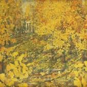 GOLOVIN, Aleksandr Jakovlevic. 1863 Moskau - 1930 Detskoje Selo. Herbstliche Landschaft., Mindestpreis: 2000 EUR
