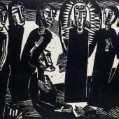 Schmidt-Rottluff, Karl.  (1884 Rottluff - 1976 Berlin). Christus unter den Frauen.  Schätzpreis:2.200 EUR