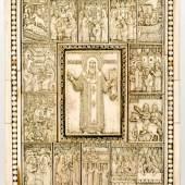 Hl. Metropolit Petrus von Moskau mit Vita Walross-Elfenbein-Ikone, 18. Jh. 19,4 x 14,8 cm, Schätzpreis:12.500 - 12.500 EUR