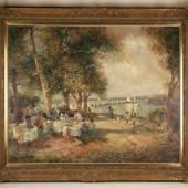 """Gschossmann, Ludwig (1901 München - 1988 Tegernsee) - """"Café am Bodensee"""" Aufrufpreis:2.000 EUR"""