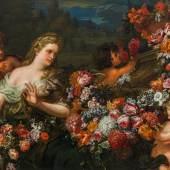 Abraham Brueghel  Flora mit Putten und Blumen in italienischer Landschaft, 1670er Jahre Öl auf Leinwand, 130 x 168 cm Privatbesitz, Deutschland Kurz-Gutachten von Dr. Klaus Ertz, Lingen, 8. Juni 2019, liegt bei.