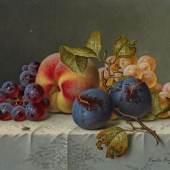 Preyer, Emilie Düsseldorf 1849 - 1930 Früchtestillleben. Öl auf Leinwand. 17 x 23cm. Signiert unten rechts: Emilie Preyer. Rahmen. Schätzpreis:20.000 - 25.000 EUR