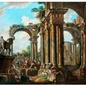 Panini, Giovanni Paolo 1691 Piacenza - 1765 Rom Es wird vermutet, dass er Schüler des Francesco Galli Bibiena (1659-1739)  Römisches Ruinencapriccio mit reicher Figurenstaffage Öl auf Leinwand. 107 x141 cm.  Schätzpreis:90.000 - 120.000 EUR