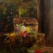 """PETERS Anna ( 1843 Mannheim - 1926 Stuttgart) """"Blumen am Gartenbrunnen"""", Mindestpreis:6.000 EUR"""
